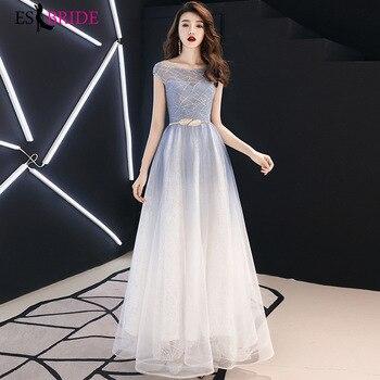 ES2701  Elegant evening dresses 2019 long formal dress for woman Cap Sleeve formal dresses evening gown vestidos de fiesta
