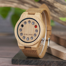 BOBO BIRD Relogio Masculino Promotion Watch Wood Craft Birthday Gift to him Custom Christmas Gifts in Box Wristwatch Leather