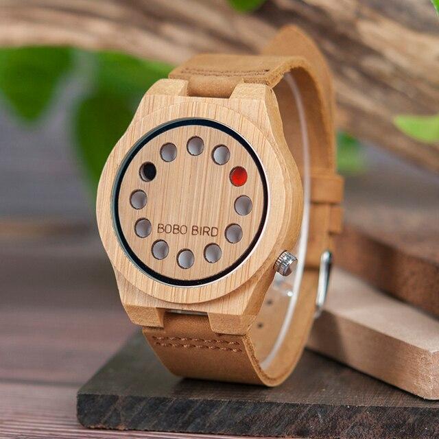 BOBO BIRD Relogio Masculino Promotion Watch Wood Craft Birthday Gift to him Custom Christmas Gifts in Box Wristwatch Leather