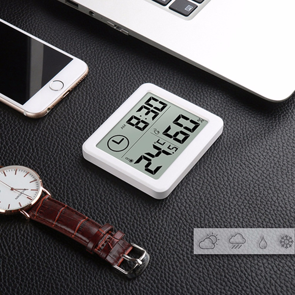 """Automatic Electronic Temperature/&Humidity Monitor Clock 3.2/"""" LCD Digital Screen"""