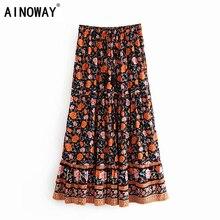 Винтажная шикарная Женская пляжная богемная юбка с цветочным принтом, Женская юбка с высокой эластичной талией, шифоновая трапециевидная бохо макси юбка