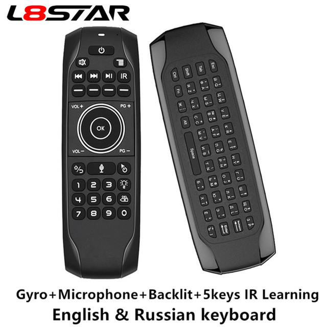 L8star G7 Voice Remote Mouse Russische Keyboard 5 Ir Leren Toetsen 2.4G Voice Draadloze Backlit Keyboard Air Mouse Met gyroscoop
