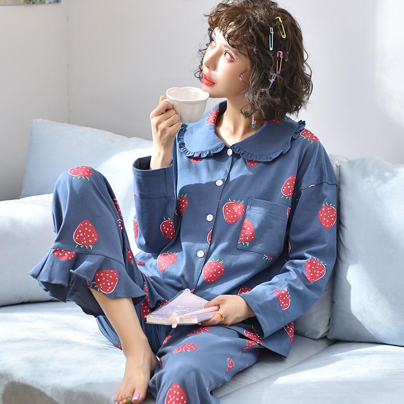Pyjama Women Clothes Pajamas Sets Cute Print Long-sleeved Sleepwear Suits Lady Fashion Casual Sleepwear Soft Nightwear Suit