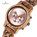 BOBO VOGEL Relogio Feminino dropshipping Dames Horloges Hout Metaal Chronograph Horloge Aanpassen Logo Gift Box U-P18