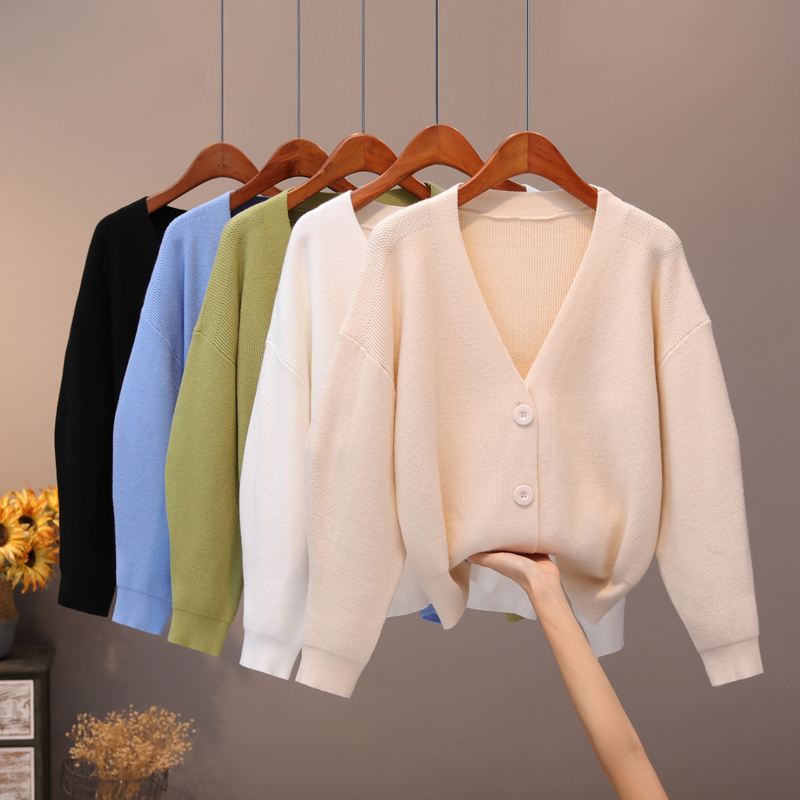 BYGOUBY Solid Knit Cardigans Sweater Women V Neck Loose Pull Sweater With Pocket Autumn Winter Thicken Open Cardigan Jacket Coat