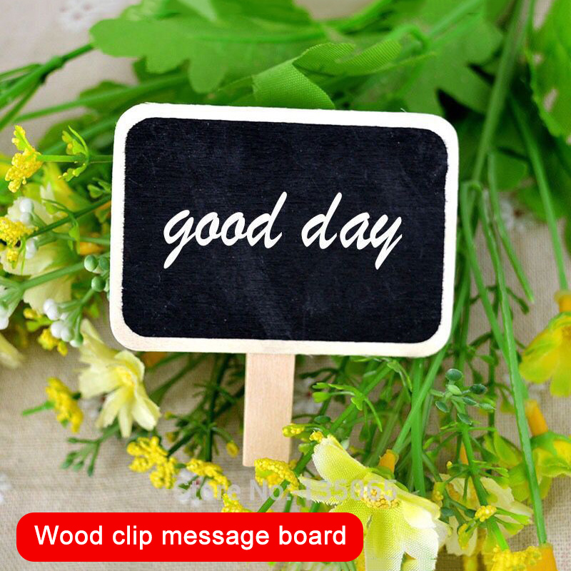 Mini Wooden Blackboard Memo Sign Message Small Note Stand Clip For Food Labels Party DJA99