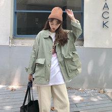Женская свободная куртка карго в Корейском стиле уличная с длинными