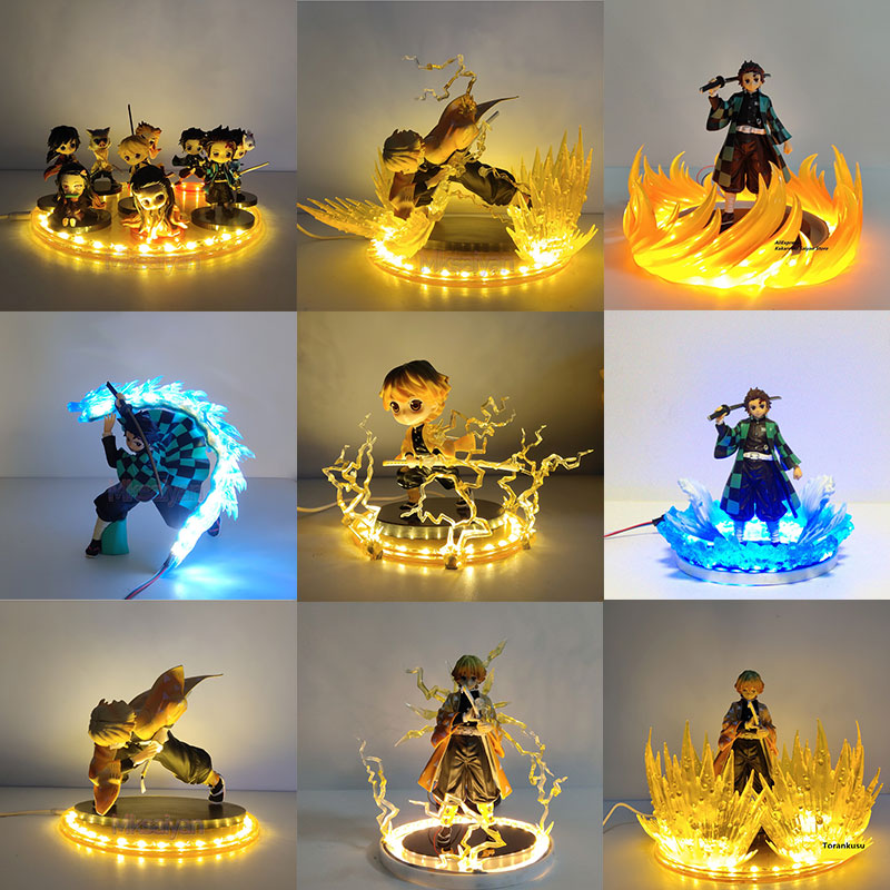Demon Slayer Figurine Nezuko Zenitsu Tanjirou Giyuu Inosuke Q Ver. Action Figures Toys With LED Effect Kimetsu No Yaiba PVC Toy