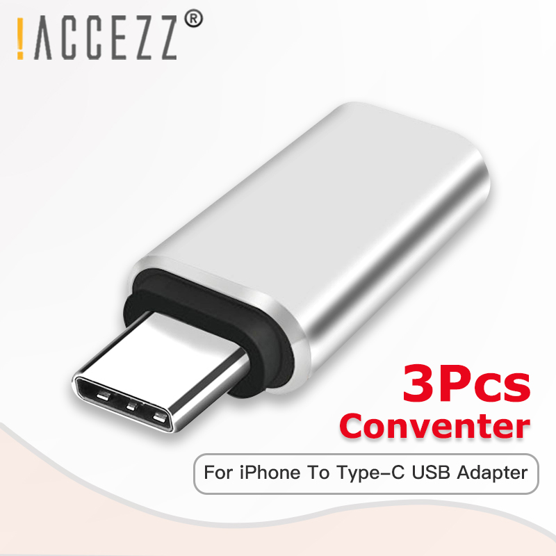 !ACCEZZ 3Pcs OTG Adapter USBC For IPhone Cable Male Type-C To Lighting Female Charging Data For Huawei P30 Samsung S9 Converter