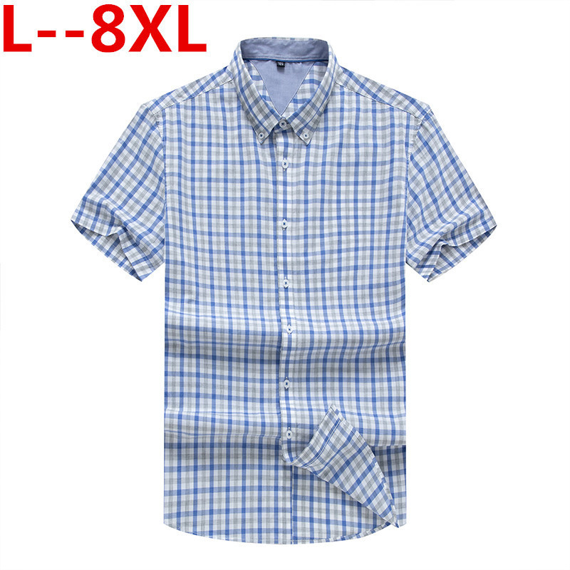 Plus 8XL 6XL 5XL 100% Cotton Short Sleeve Shirts Button Down Collar Plaid Striped Slim Fit Men Casual Shirts Brand High Quality
