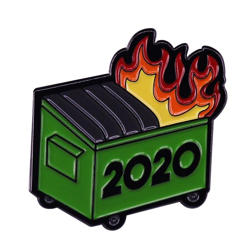 Мусорный бак огонь 2020 значок пандемия убийца ОСА полиция Rioters булавка сосет смешной мусор Декор