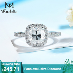 Kuololit 585 14K 10K 1.5CT Moissanite Ring for Women Genuine Cushion Solitaire Halo Ring for Engagement Anniversary Promise Gift