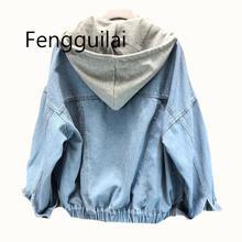 Feminine Coat Loose Streetwear Womens Jackets Jeans For Women Removable Hooded Denim Jacket Casual BF Harajuku