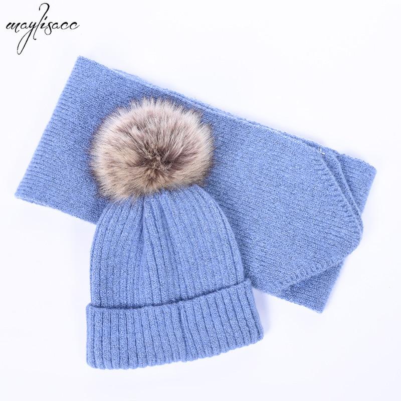Autumn And Winter Maylisacc New 4-8 Years Old Children Hat Scarf 2pcs Set Boy Girls Acrylic Fashion Thicken Hat Beanie Scarf Set