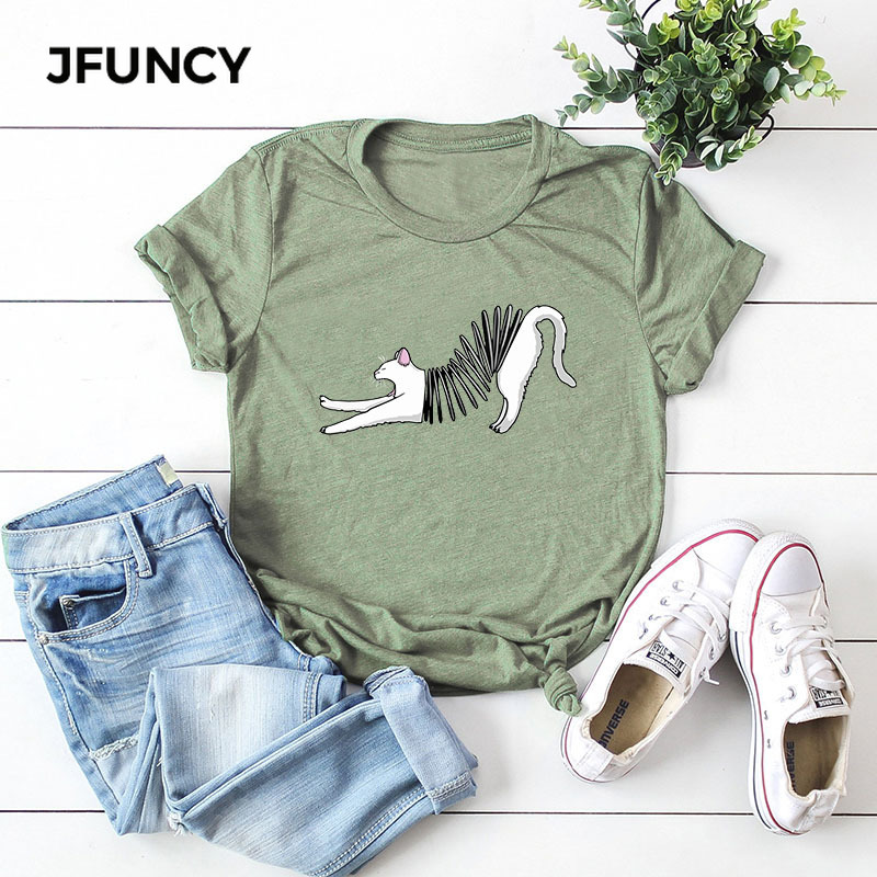 JFUNCY Fun Cartoon Cat Print Loose T Shirt Oversize Women Tees Top Summer Cotton T-Shirt Woman Shirts Fashion Casual Pink Tshirt