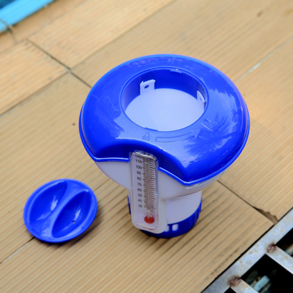 H17627c956eba4c4e85c032d9eee2f854u - Hot sale Floating Chlorine And Bromine Tabs Dispenser With Thermometer Swimming Pool Floating Chemical Chlorine Dispenser