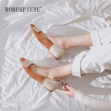 ROBESPIERE Hot Sale Shallow Flats Women Casual Pointed Toe Loafers Genuine Leather Shoes Fashion Mixed Colors Women Flats A21 robespiere women pointed toe flats natural leather mixed colors ladies boat shoes 2019 autumn new slip on large size shoes a103