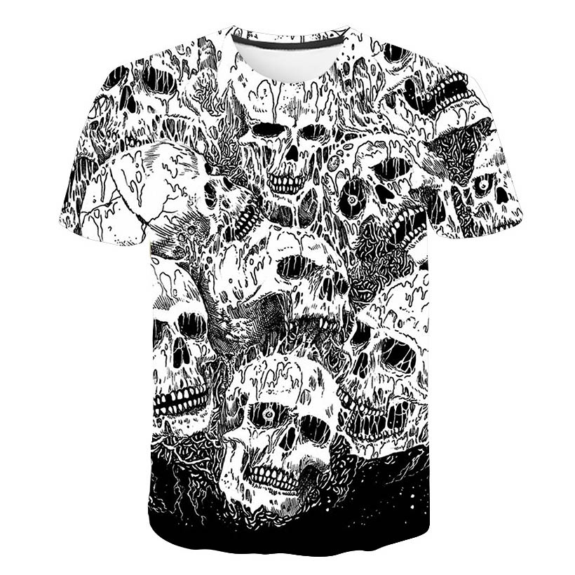 3 <font><b>d</b></font> printing in <font><b>2019</b></font> skulls summer men's and women's high quality fashion personality T-shirt short sleeve blouse image
