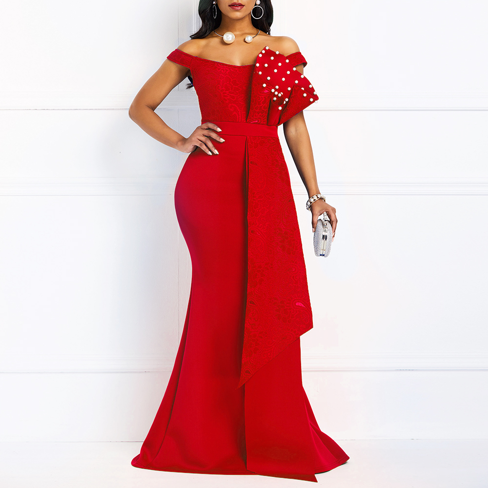 Red Sexy Beaded Bodycon Evening Party Dress Long Luxury Elegant Mermaid Dresses Plus Size Off Shoulder Pleated Robe De Soiree