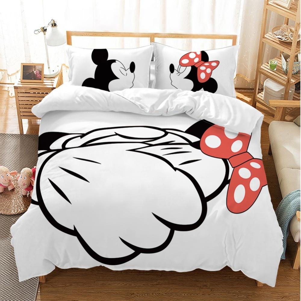 Ensemble de literie pour enfants | Adorable Couple Minnie Mickey Mouse, dessin animé, housse de couette noir et blanc, taie d'oreiller pour garçons et filles adultes
