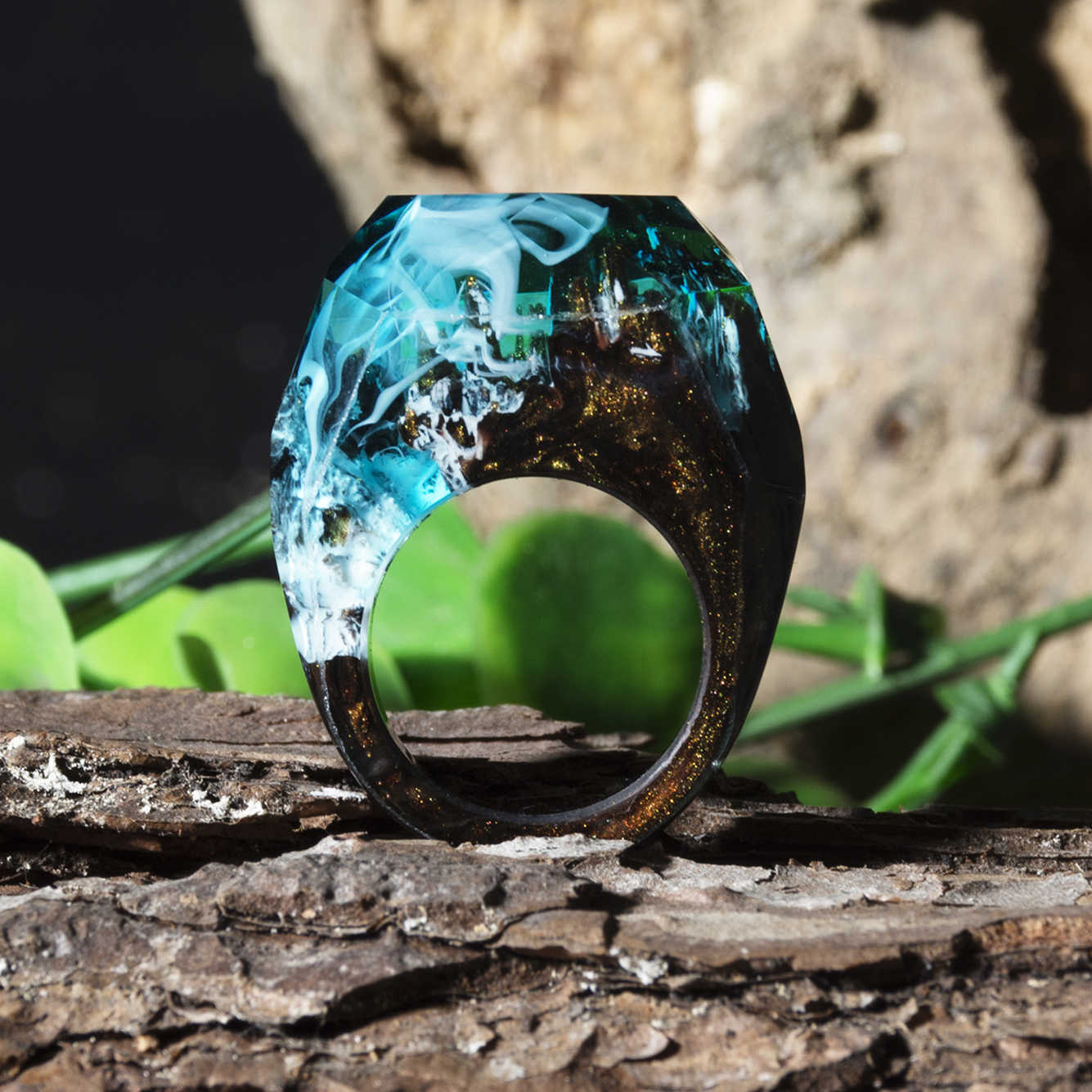 Epoxy Resin Magic Wooden Rings For Women Forest Ring Natural Landscape Wood Rectangle Ring Gifts Luminous Under UV or Flashlight