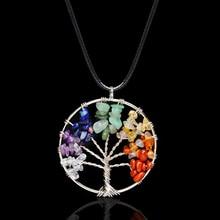 Pendant Necklace Crystal Rose-Quartz Natural-Stone 7-Chakra Christmas-Gift Tree-Of-Life