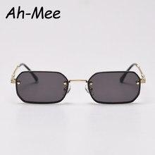 Pequeno quadrado sem aro óculos de sol feminino marca trending preto óculos de sol para feminino vintage uv400