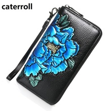 cow leather women purse floral genuine leather wallet women long female zip purses small phone bag