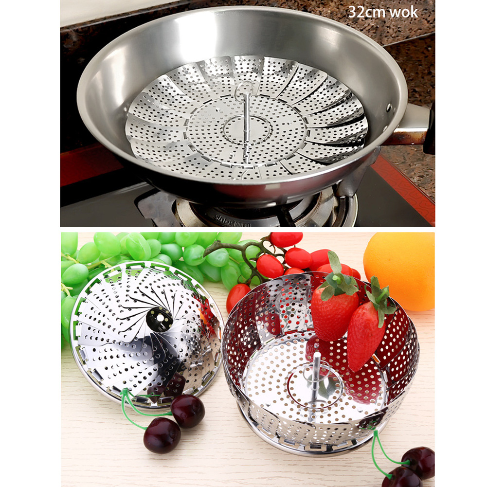 Kitchen Stainless Steel Plate Folding Steamed Bread Cushion Cage Drawer Steamed Vegetable Steamer Frame Steaming Drawer