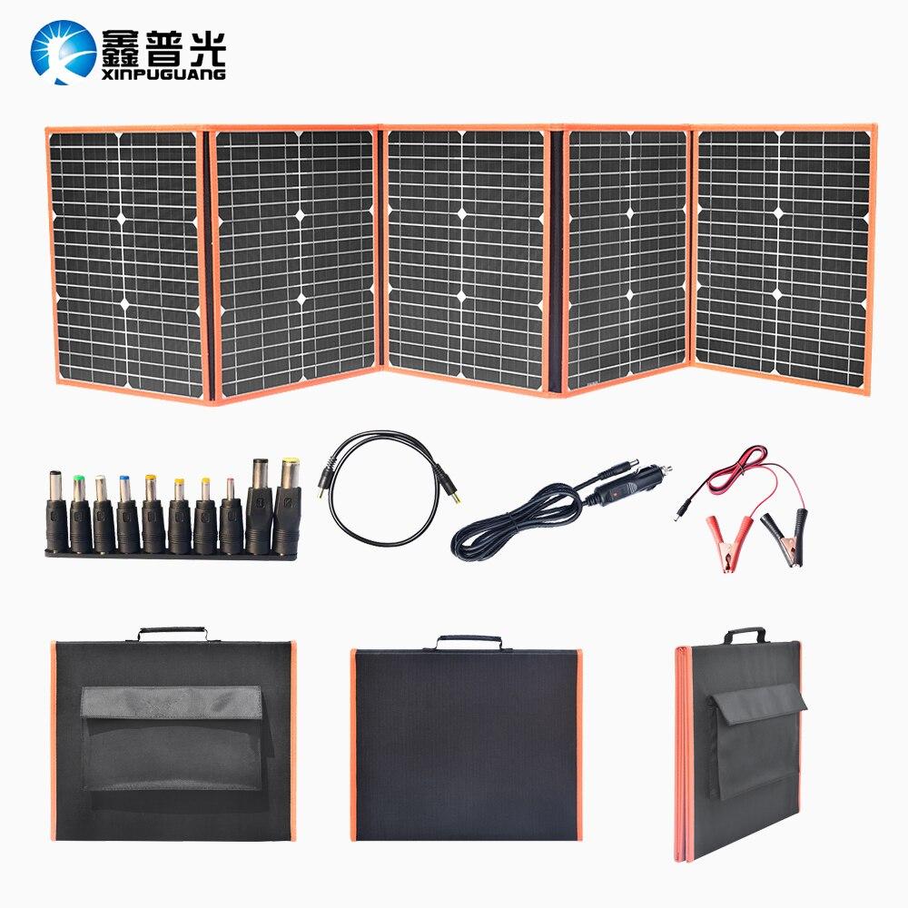 100W 18V panneau solaire Portable pliable sac solaire DC 5V USB sortie pour voyage en plein air Camping voiture bateau 12v chargeur de batterie