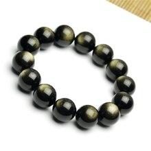 Golden Obsidian Bracelet 12-14mm Round Jewelry Men and Women Fashion Jewelry best selling 12mm natural rainbow eyes obsidian men and women beaded bracelet jewelry