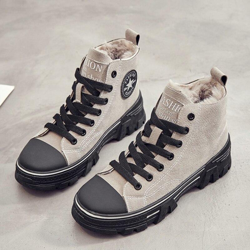 Women Winter Shoes 2019 Leather Women Casual Shoes Flats Platform Warm Plush Fashion Women Shoes High Top Lace Up Sneakers Shoes