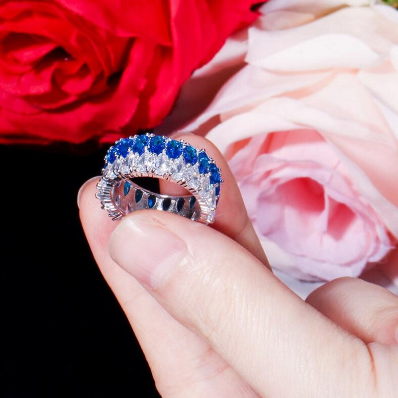 Rulalei tout nouveau bijoux de luxe uniques 925 en argent Sterling Double goutte d'eau AAAAA cubique zircone éternité femmes bague de mariage - 4
