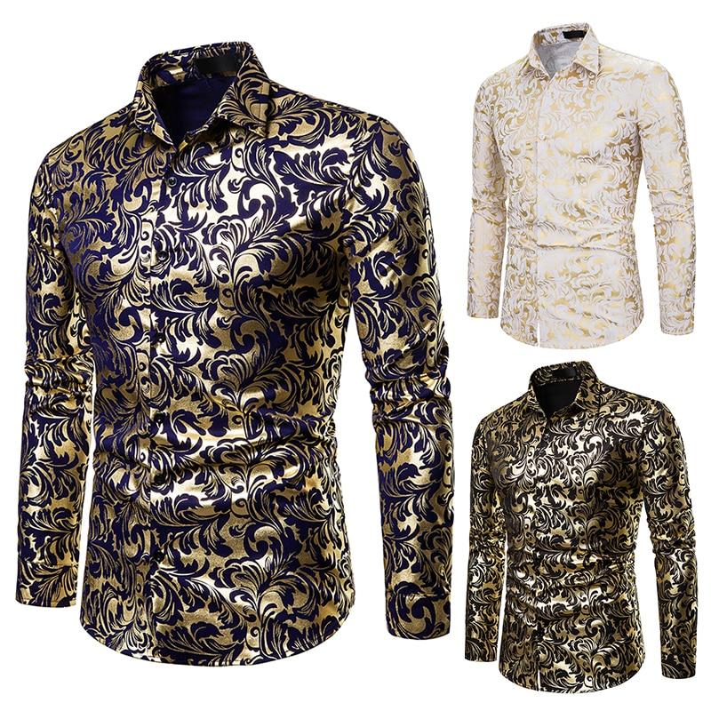 Shirt Men Luxury Brand Black Gold Bronzing Printed Slim Long Sleeve Dress Shirt Lapel Nightclub Hip Hop Party Prom Casual Shirts