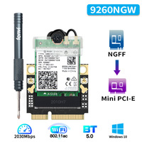 M.2 To Mini PCI-E Wi-Fi Adapter Intel 9260 AX200 Wireless 2030Mbps Bluetooth 5.0  Wifi Card 9260NGW 802.11ac 160Mhz 2.4G/5G