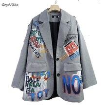 British Style Plaid Suit Blazer Women Graffiti Print Outerwe