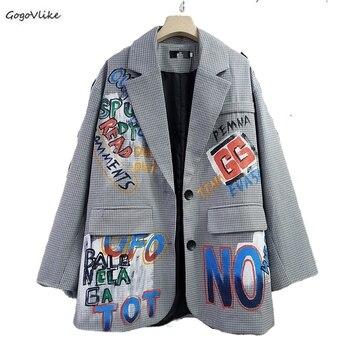 Brytyjski garnitur w kratę Blazer kobiety Graffiti druku odzieży wierzchniej kobiet duże rozmiary garnituru kurtka kobiet Chic płaszcze koreańskie LT882S30