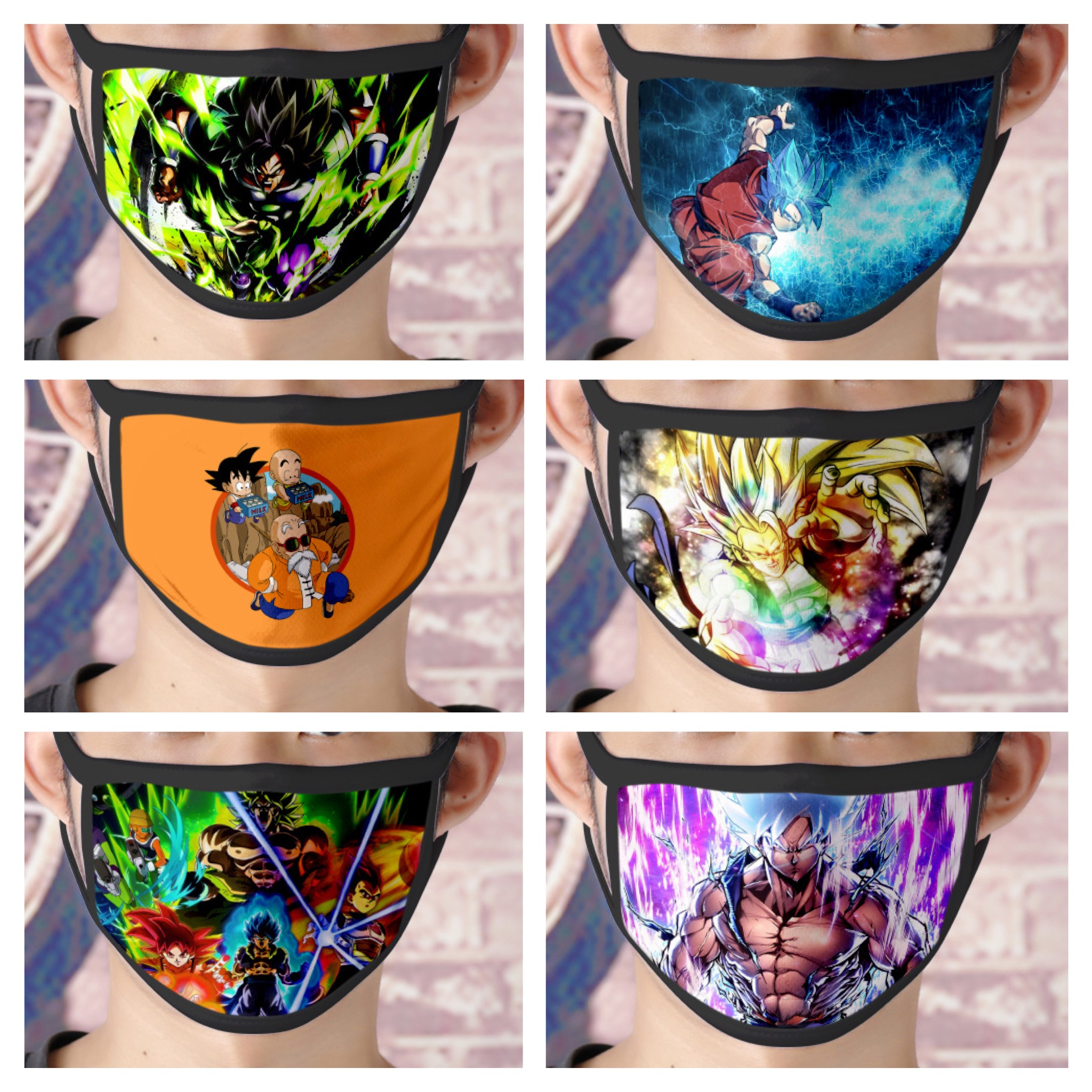 1 Pc Cartoon Dragon Ball Z Son Gokū /Oolong Dust-proof Breathable Washable Reusable Cotton Mouth Mask For Unisex Adult /Children