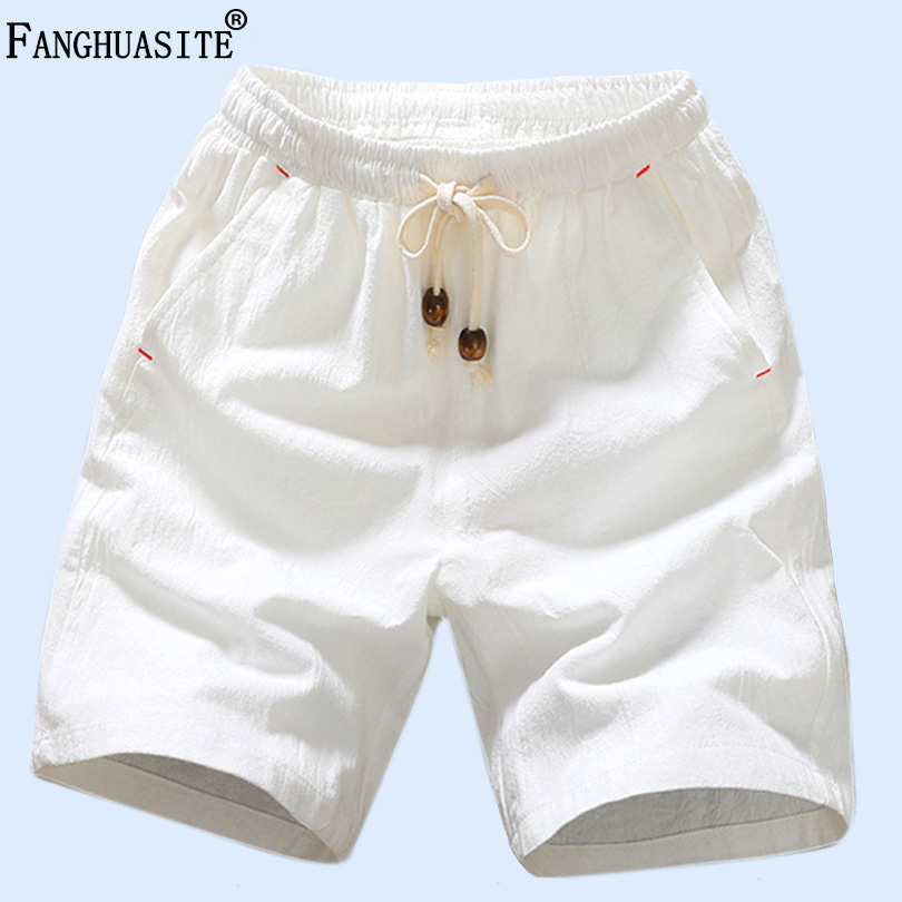 Brand Men's Casual Shorts High Quality Linen Cotton Comfort Shorts Male Streetwear Solid Color Loose Fashion Shorts Men FK66