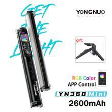 Yongnuo YN360 mini lampka przenośna rurka RGB w pełnym kolorze wypełnienie światłem oświetlenie fotograficzne Stick wideo na zewnątrz kontrola aplikacji światła