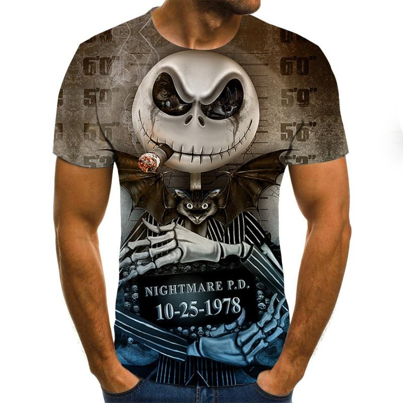Mens Skull Pumpkin Lantern T Shirts Fashion Summer Short Sleeve Ghost Rider Cool T-shirt 3D Skull Print Tops Skull Tshirt Men
