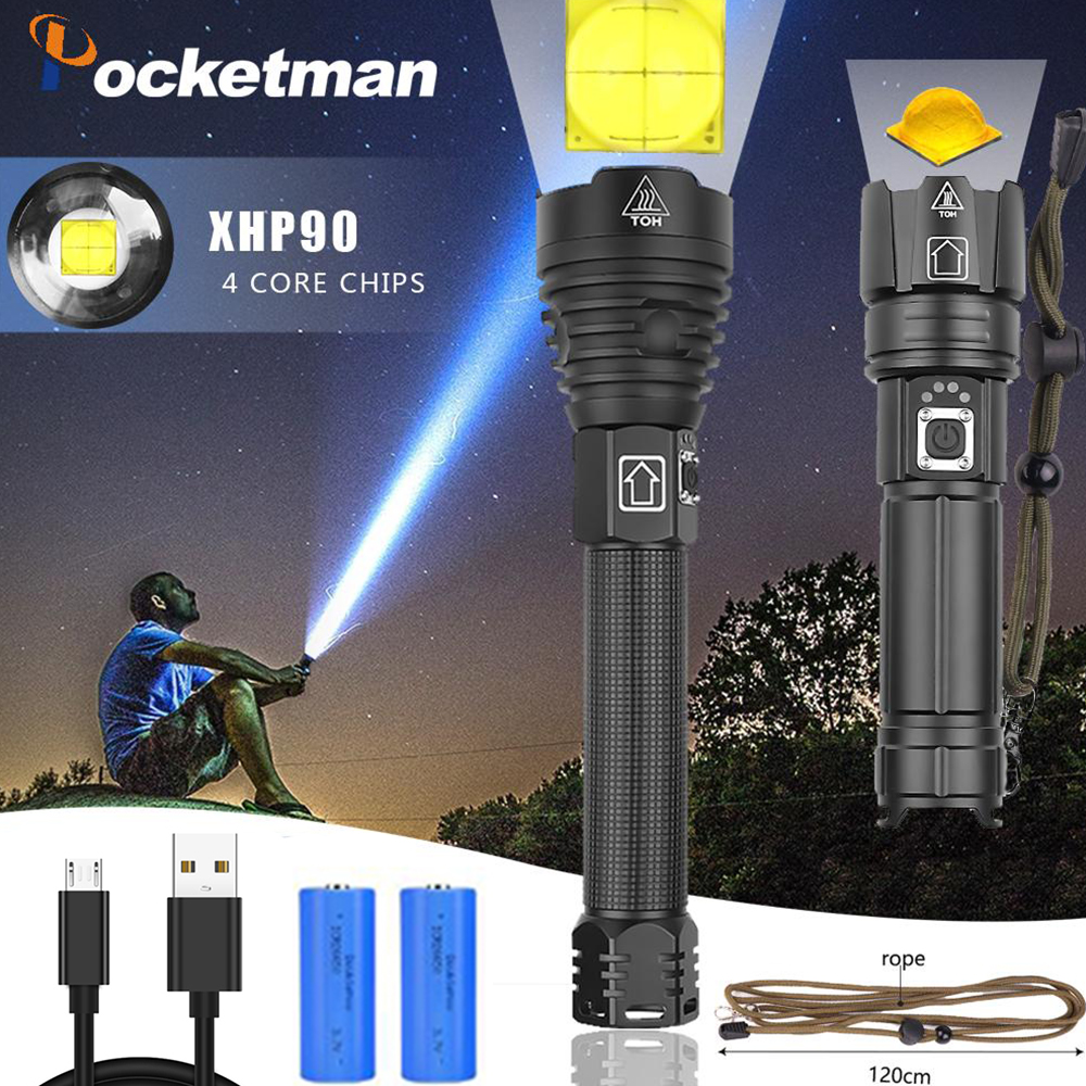 Highest Lumen Most Powerful XHP90 Long-range Flashlight LED Tactical Zoom XazHP70.2 LED Torch Light Use 26650 Large Battery