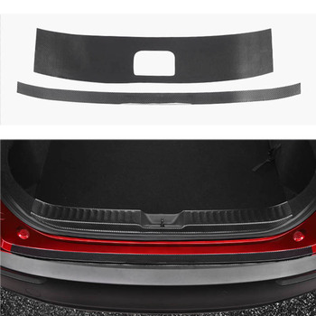 Car Exterior Outside Rearguards Rear Bumper Trunk Trim Bumper Pedal PU Leather for Mazda CX30 CX-30 Car Accessories car rearguards trunk rear tail box bumper pedal plate car styling for skoda karoq 2017 2018