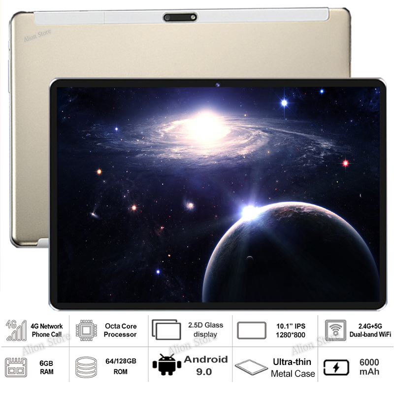 """Sales Hot 6G+128GB Tempered Glass 2.5D 10 Inch Tablet PC Android 9.0  64/128GB ROM 1280*800 IPS 3G 4G LTE  Tablet 10 10.1""""+Gifts"""