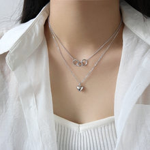 Korean 925 Silver Sterling Women's Love Heart Pendant Double Layer Necklace Personality Silver Jewelry(China)