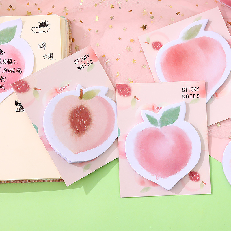Kawaii Peach N Times Memo Pad Sticky Notes Cute Self-Adhesive Stationery Label Notepad Notebook Bookmark Post School Supplies