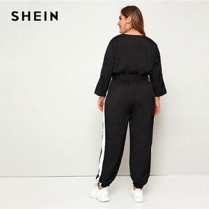 Image 2 - SHEIN Plus rozmiar Colorblock komża z przodu popędzający kombinezon kobiet wiosna jesień na co dzień V Neck z długim rękawem sportowe długie kombinezony