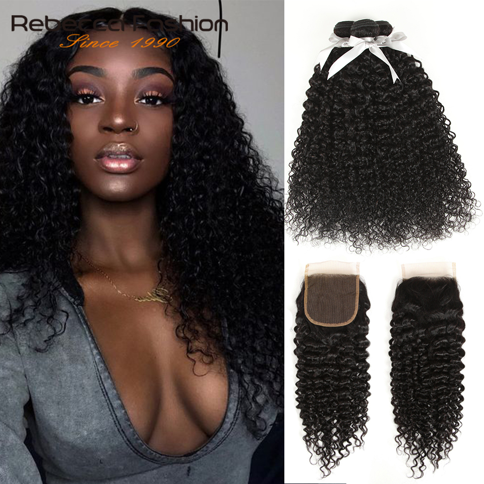 Rebecca Kinky Curly 3 Bundles With Closure Remy Human Hair Weave Extensions Brazilian Curly Hair Bundles With Closure