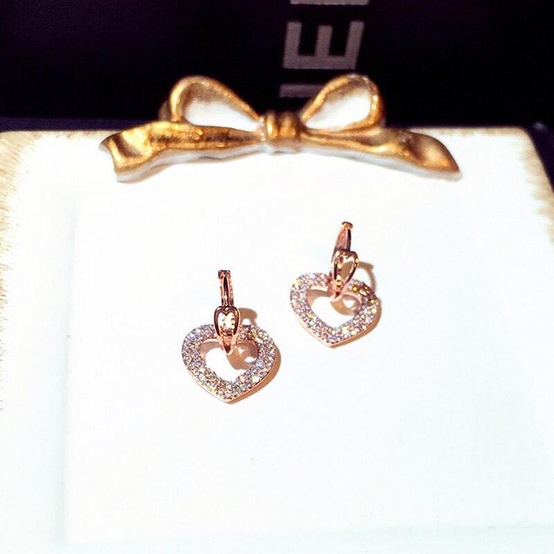 Ins Offre Spéciale brillant creux amour boucle boucles d'oreilles pour dame coeur forme à la mode Bling zircone goutte boucle d'oreille bijoux de mariage pendentif 3