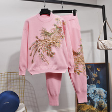 Red Pink Black Knitted Set Women Tracksuits Handwork Beading Peacock Embroidery Sweater Long Pants Outfits Female Loose Knit 2pc